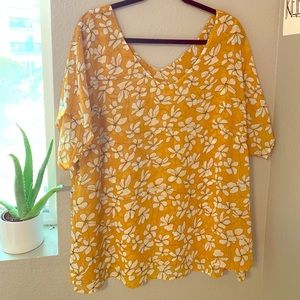 Cute yellow flowery airy top